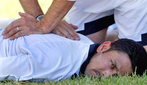 Anil Kumble being attended to by the physio