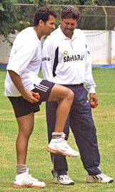 Kapil Dev helps out Zaheer Khan in the nets